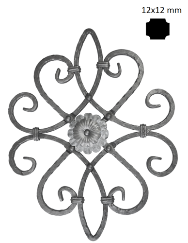 Kovářský ornament H530xL420mm,oboustranný vzor,12x12mm  - 1